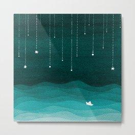 Falling stars, sailboat, teal, ocean Metal Print