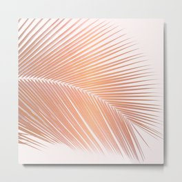 Palm leaf - copper pink Metal Print