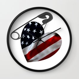 American Flag Heart Safety Pin Wall Clock