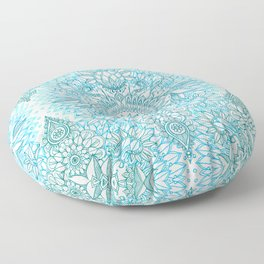 Turquoise Blue, Teal & White Protea Doodle Pattern Floor Pillow