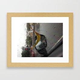 Leaf on Window Framed Art Print