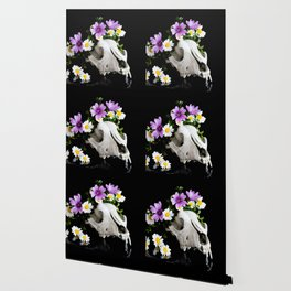 Animal skull with a wreath of wild flower Wallpaper