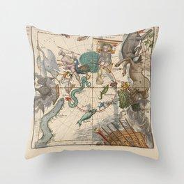 Ignace-Gaston Pardies - Globi coelestis Plate 6: Centaurus, Indus, Chamaeleon and other constellatio Throw Pillow