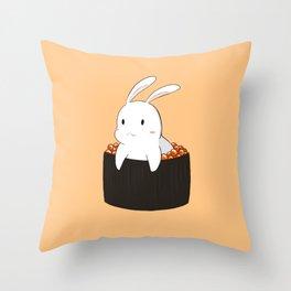 Bunny loves sushi Throw Pillow