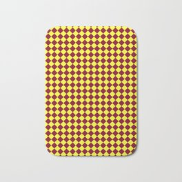 Electric Yellow and Burgundy Red Diamonds Bath Mat
