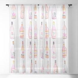 Watercolor Rosé Wine Bottles Sheer Curtain