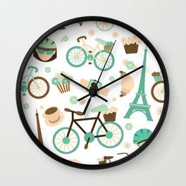 Brown green and white Paris symbols pattern Wall Clock
