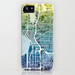 Seattle Washington Street Map iPhone Case