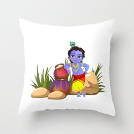 Naughty Krishna With His Stash Of Butter Throw Pillow