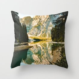 Lago di Braies, Braies, Italy Throw Pillow
