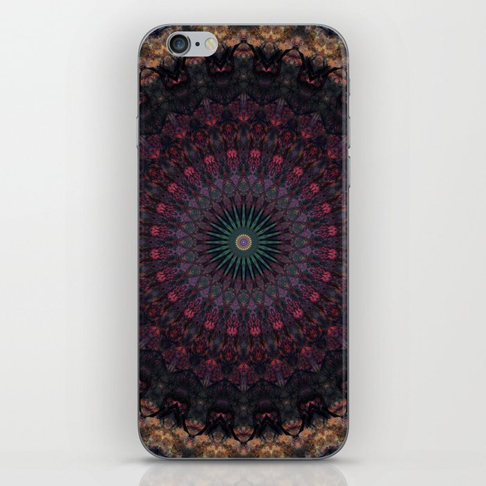 Mandala in dark red and brown tones iPhone Skin