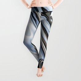 Grey and Black Metal Marbling Effect Abstract Leggings