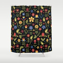 folky floral pattern on black Shower Curtain