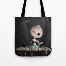 Crusher Doll Girl and black Bear Tote Bag