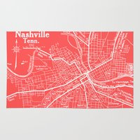 nashville Area & Throw Rugs featuring Vintage Nashville Pink by Upperleft Studios