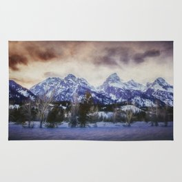Sunset Behind the Tetons painterly version Rug