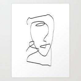 Abstract head, Minimalist Line Art Art Print