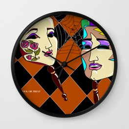 Masks and a Spider Web - October Wall Clock