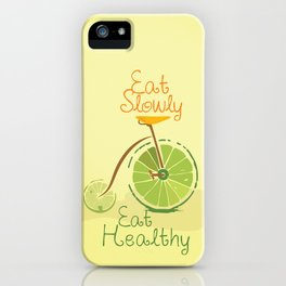 Eat slowly, eat healthy. A PSA for stressed creatives. iPhone Case