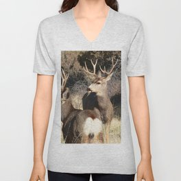 Watercolor Deer, Mule 16, Crestone, Colorado, The Disturbance Unisex V-Neck