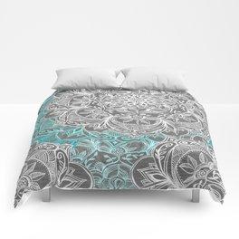 Turquoise & White Mandalas on Grey Comforters