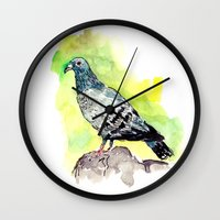pigeon Wall Clocks featuring Pigeon by Elena Sandovici
