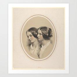 Portrait Busts of Two Women,1850–90 Art Print