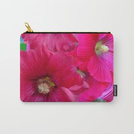 FUCHSIA PINK GARDEN HOLLYHOCKS Carry-All Pouch