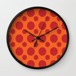 RED DOTS ON A ORANGE BACKGROUND Abstract Art Wall Clock