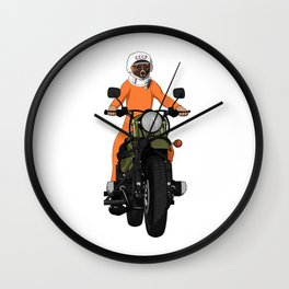 The first dog in space Laika on motorbike Wall Clock