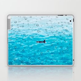 Orca Whale gliding through the water on a rainy day Laptop & iPad Skin
