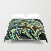 oil Duvet Covers featuring Oil Spill by Jessielee