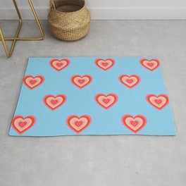 Psychedelic Hearts Pattern On Pastel Blue (x 2021) Rug