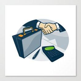 Business Handshake Deal Briefcase Retro Canvas Print