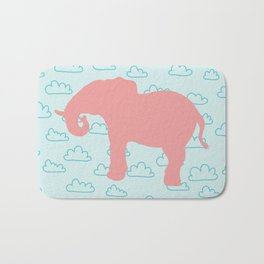Pink Elephant and clouds , nursery decor Bath Mat