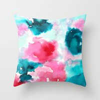 water color Throw Pillows featuring Water color by moniquilla