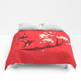 Swallows & Magnolia Flowers Comforters