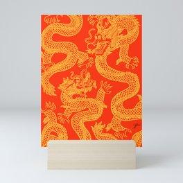 Red and Gold Battling Dragons Mini Art Print