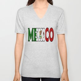 Mexico Font with Mexican Flag Unisex V-Neck