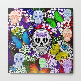 Day Of The Dead , Butterflies and Sugar  Skulls Metal Print