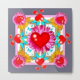 Red Hearts Valentines & Pink Flowers Art Grey Patterns Metal Print