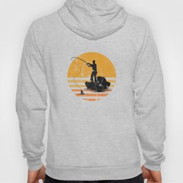 Distressed Vintage Fly Fishing Fisher Fisherman Sailor Fish Lovers Gift Hoody