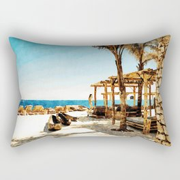 Watercolor Painting of Mykonos Beach Rectangular Pillow