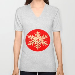 Snowflake in a Red Field Gift Unisex V-Neck