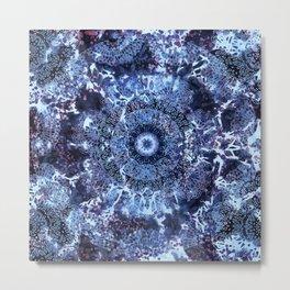 Iris Mandala Blue Metal Print