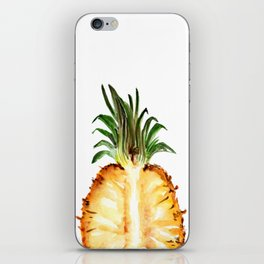 Cut pineapple into halfs - watercolor art iPhone Skin