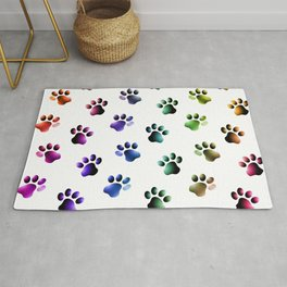 Rainbow Colored Animal Paw Prints Cats Dogs Rug