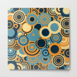 circles-blue-orange-cream Metal Print