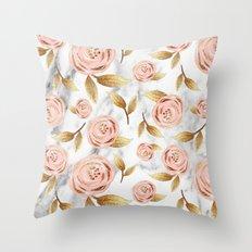 Blushing blooms Throw Pillow