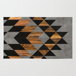 Urban Tribal Pattern 10 - Aztec - Concrete and Wood Rug